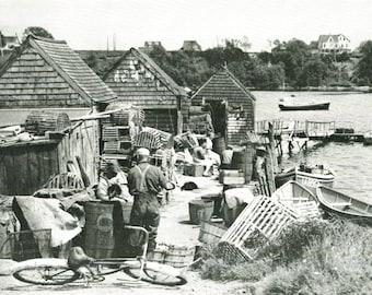 Bailey Island Maine Lobstermen's Pier Magazine Photo 1946 Vintage Wall Decor