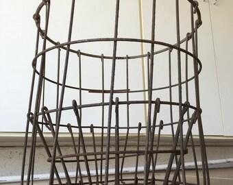 Antique Industrial Wire Storage Basket HUGE