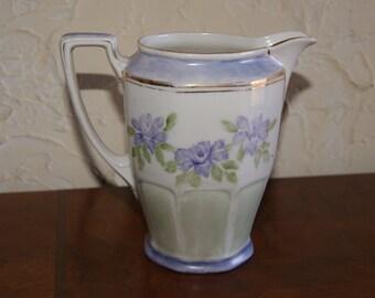 Vintage Porcelain ZEH SCHERZER Bavaria Pitcher Or Creamer Handpainted By L Bryant Floral Motif With Gold Trim Made 1930 To 1945