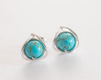 Turquoise Stud Earrings, Turquoise Earrings, Silver Earrings, Gift Ideas, December Birthstone, Real Turquoise,  Boho Jewellery