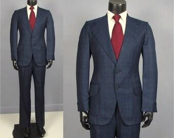 Vintage Suit -- 1970's Men's Navy Multi Fleck Novelty Plaid 2 Piece Suit by Ratner Clothes -- Trousers/Jacket -- Size 37 38