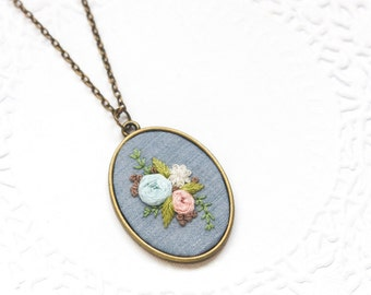 Hand Embroidered Flower Necklace | Hand Embroidered Pendants | Hand Embroidered Necklace Jewelry | Modern Embroidery Gift | Textile Art Gift