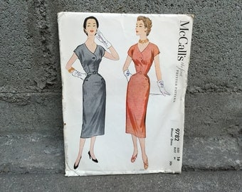 50's McCall's 9782 Pattern Misses' Wiggle Dress - Size 16 Bust 34