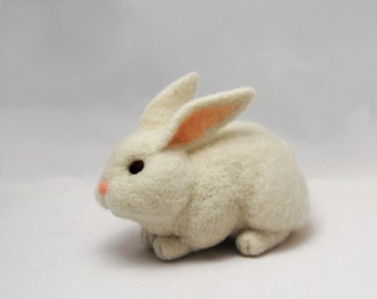 Needle Felted Rabbit, Handmade Animal, Needle Felted Hare, Cute White Easter Bunny - READY TO SHIP