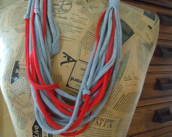 Gray & Red Handmade T-Shirt Scarf, Recycled Shredded Jersey Infinity Scarf, Color Therapy #0003