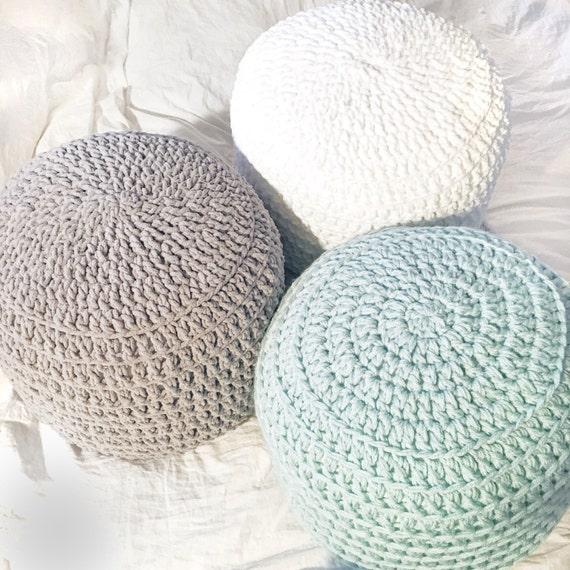 Mint Green White Grey Hand Crochet Pillow Ottoman Pouf