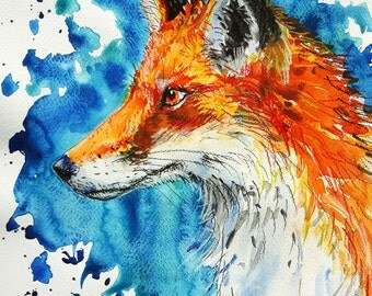 """Original mixed media painting fox """"Vixen"""""""