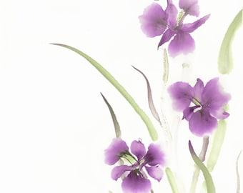 Purple Iris Chinese Brush Watercolor Original Painting