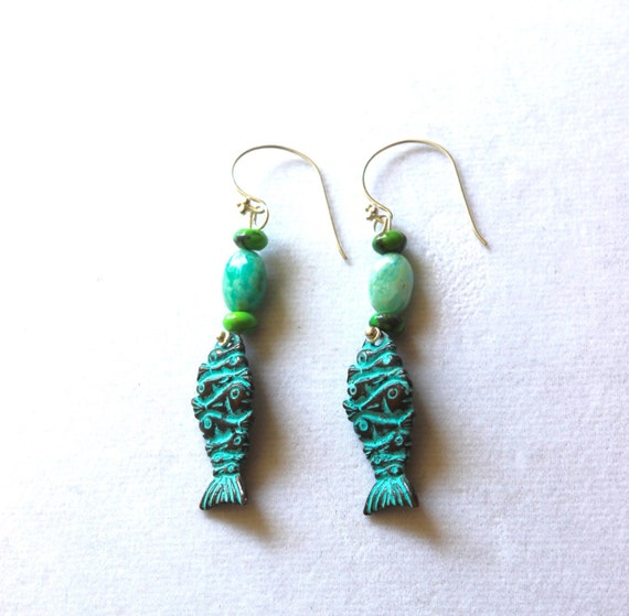 Pisces earrings - Fish earrings - For Pisces - Pisces jewelry - Dangle earrings - Verdigris earrings - fish theme jewelry