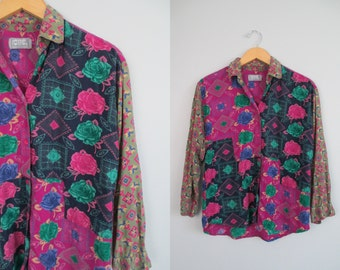 Vtg 90s OversiZeD BLoSSoM BoYfriEnD LooSe BLouSe / BuTToN DoWn \ OxforD MiXeD FLorAl ConTrasT PriNt \\  SMaLl // OvERSiZeD