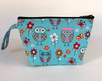 Ostentatious Owls Blue Make Up Bag - Accessory - Cosmetic Bag - Gift