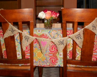 Rustic MR & MRS Wedding Burlap Banner - Hand Crafted