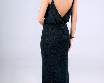 Black evening dress, top loose, mermaide dress, backless gown,