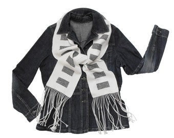 Winter White Scarf with Grey Inlay, Handwoven Scarf, Woven White and Grey Scarf, Hand Woven Scarf Neutral, White and Silver Scarf Ladies
