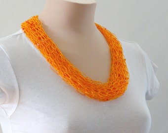 Clearance! Orange Short Scarf Beaded Scarf Chunky Scarf Cowl Scarf Tangerine Orange Scarf Infinity Scarf Bib Scarf Scarf For Her