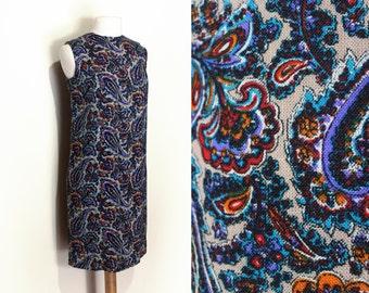 60's Paisley Wool Shift Dress