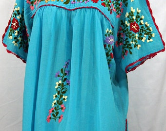 "Mexican Blouse XXL: ""Lijera Libre"" by Siren in Aqua with Multi Embroidery"