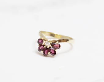 Unique diamond and  gold ring, Garnet ring, diamond ring, diamond engagement Ring ,solid gold diamond ring