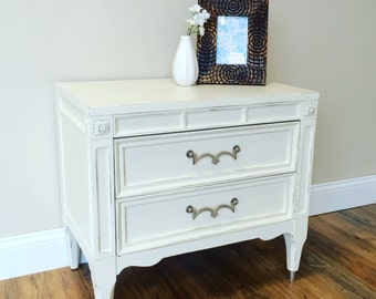 Vintage Nightstand, White Nightstand, Mid Century, American of Martinsville, Wooden Nightstand