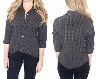 Vintage 80s  black and white plaid blouse button up blouse size medium