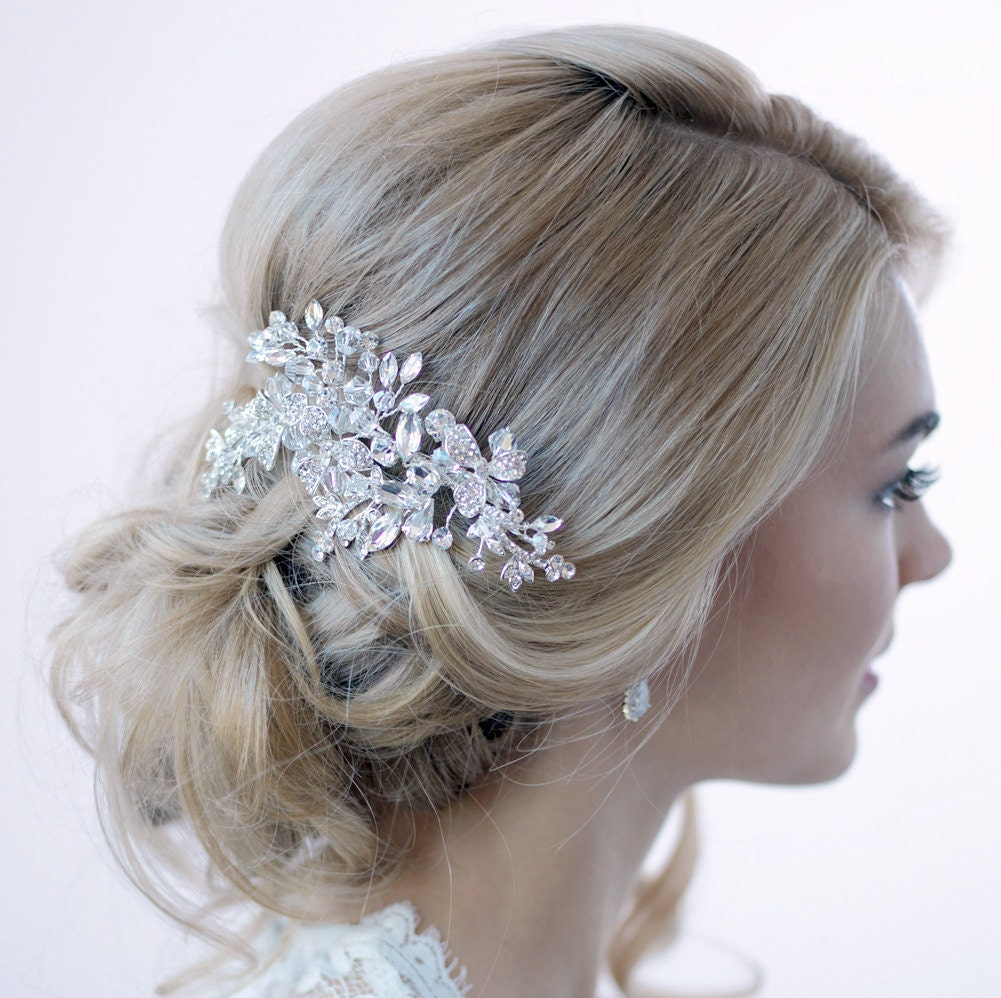 Hair Clips For Wedding: Swarovski Crystal Hair Clip Silver Hair Clip Bridal Hair