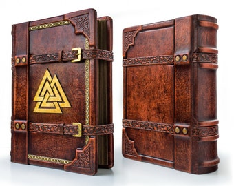 Valknut leather journal - 8 x 10.5 inches - art journal - medieval sketchbook - Italian leather