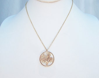 Filigree tree coin necklace, gold plated tree coin charm necklaces for women, handmade jewelry tree gift, best valentines day gift for her