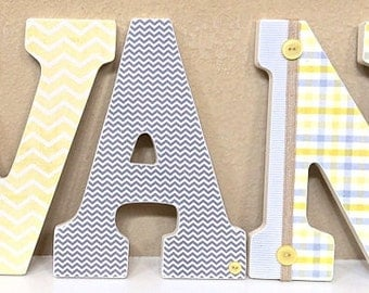 Boy Nursery Letters, Gray and Yellow Nursery Decor, Wooden Wall Letters, Gray and Yellow Boy Baby Shower Gift - The Rugged Pearl