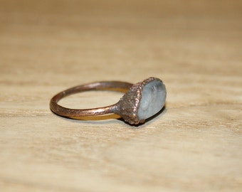 Aquamarine ring / Natural crystal ring / raw crystal ring / Electroformed ring / Raw Aquamarine ring