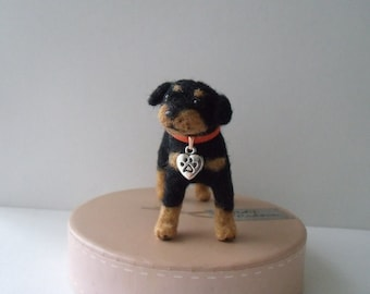 Mini needle felted Rottweiler puppy