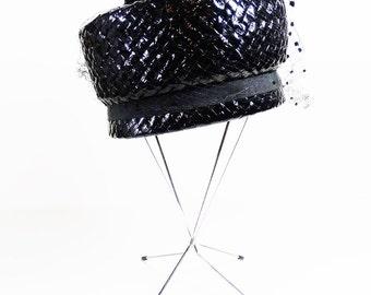 Black Cellophane Straw and Net Pillbox Hat - Vintage Pillbox Hat
