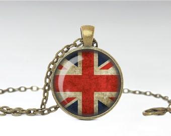 Union Jack Jewelry, British Flag Necklace, United Kingdom Pride Pendant [B43]