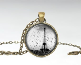 Paris Jewelry, Eiffel Tower Pendant, Rainy Romantic Parisian Necklace [C50]