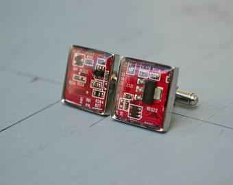 Mens Geeky Nerdy Cuff Links - Circuit Board Computer Square Cufflinks - Modern Wedding Groom Stainless Steel Gufflinks