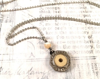 Antique Cufflink Necklace - Mother of Pearl and Rhinestone