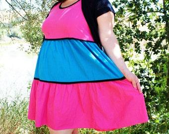 Plus Size - Vintage Pink & Blue Color Block Tank Dress (Size 2X)