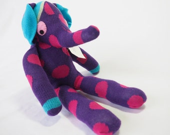 Ernie Elephant. Sock animal, sock elephant, sock monkey, soft plush toy for children.