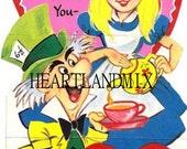 Vintage Valentine Card Download Art Graphic Image printable Alice in Wonderland