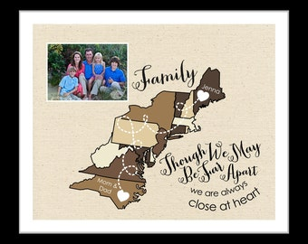 Moving away gift family gift, east coast map present, personalized art unique map, thank you gift, mom and dad your photo gifts for parents