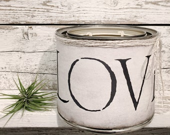 SOY CANDLE - LOVE - All Natural Scented Candle In Tin - Wrapped In Our Canvas Art