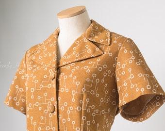 Vintage Mod Top, Mod 60s Top, Vintage Top, Vintage mustard Top, Mustard yellow Top, Mad Men Top, 60s Mod Top - L/XL