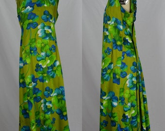 1960s Blue & Green Tropical Print Gown Perfect for Luau Bust 41""
