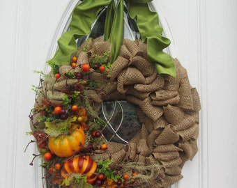 Pumpkin Wreath - Fall Wreath - Autumn Wreath - Fall  Outdoor Wreath - Fall Country Wreath - Country Rustic Wreath - Burlap Wreath - Wreaths