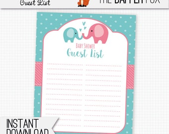 Baby Shower Guest List Pink Elephant   Printable Guestlist   Polka Dot Baby  Girl Pink And  Baby Shower Guest List Template