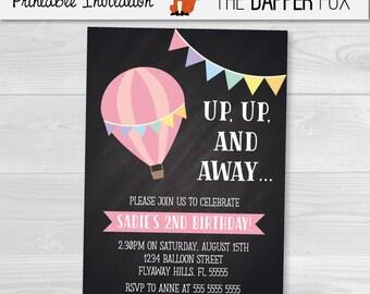 Hot Air Balloon Chalkboard Birthday Invitation Girls Birthday Invitation - Printable - Girl First Birthday chalk board Invitation Pastel