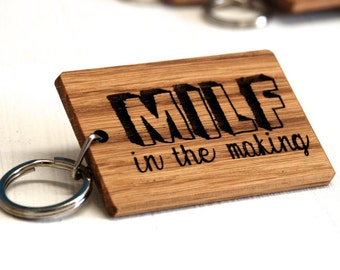 Mum To Be 'MILF' Keyring - New Mum Gift - Mum To Be Gift - Mummy Keyring - Yummy Mummy - Mummy To Be - Wooden Keyring - Personalised Keyring