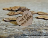 "100 Happily Ever After 1"" Wood Hearts, Wood Confetti Engraved Love Hearts- Rustic Wedding Decor- Table Decorations- Small Wooden Hearts"