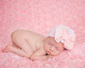 Newborn Hospital Hat | Beanie Bow | baby girl pink soft stretchy cap