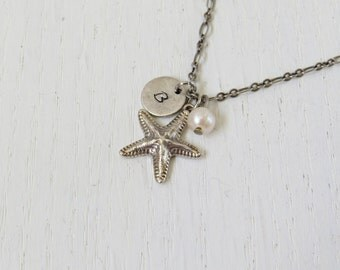 Silver starfish necklace, Sea inspired jewelry, Hand stamped initial necklace