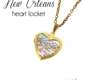 New Orleans Map Necklace, Antique Map Print, Vintage Brass Heart Locket, Louisiana, City Necklace, Gift for Her